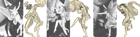 "Montage of Cottingley Fairies and illustrations from ""Princess Mary's Gift Book."" (Wikimedia Commons)"