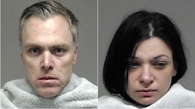 Mugshots for Adam Farrar and girlfriend Charity Moore who were arrested for theft in January.