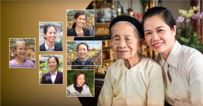 Hồng phúc của gia đình cụ bà 96 tuổi cùng 7 người con gái